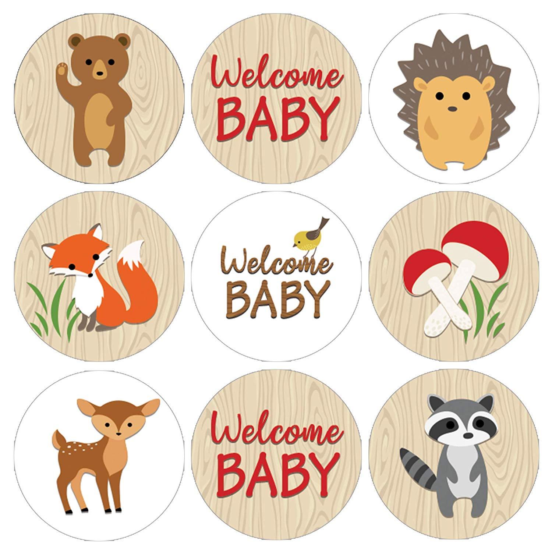 Woodland Animals Baby Shower Favor Stickers.