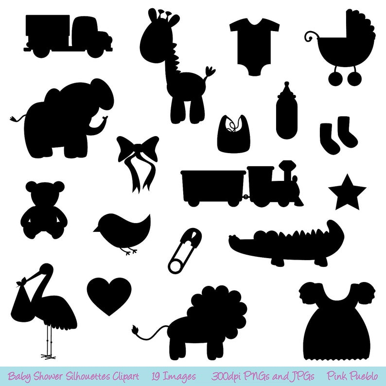 Baby Shower Silhouettes Clipart Clip Art.