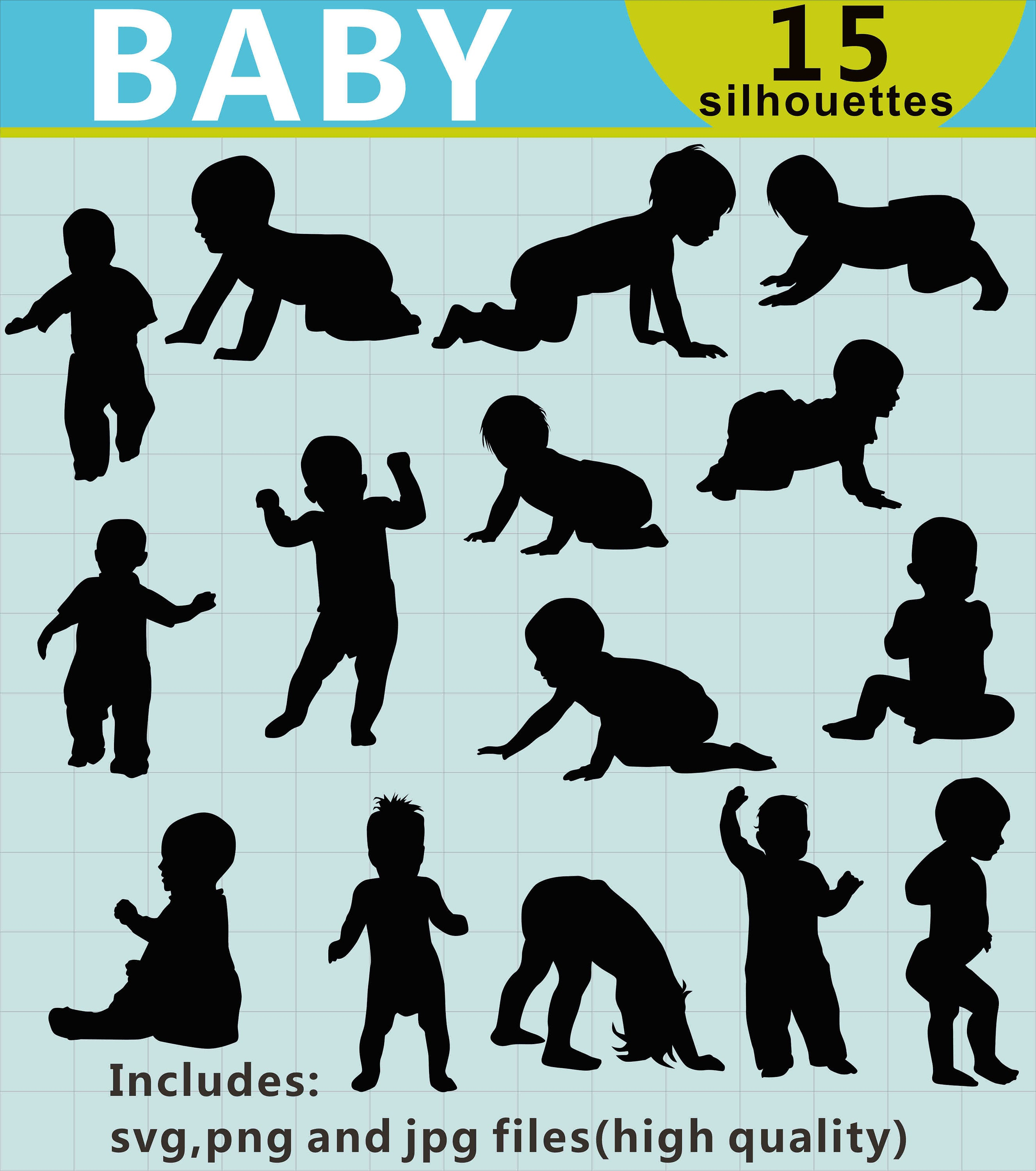 Baby silhouette Clipart, Baby Clipart, Kids Clipart, Child Silhouettes,  Digital Clipart Images, Baby SVG Designs, SVG Files.