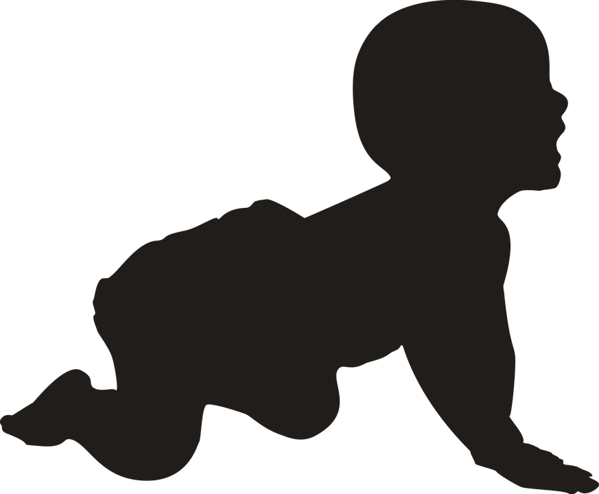 Silhouette Baby Crawling.