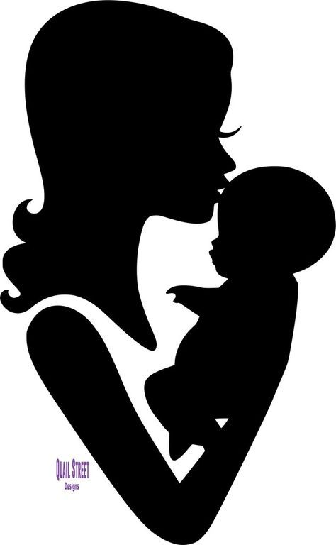 Mom and Baby Forehead Kiss Silhouette Vinyl Decal.