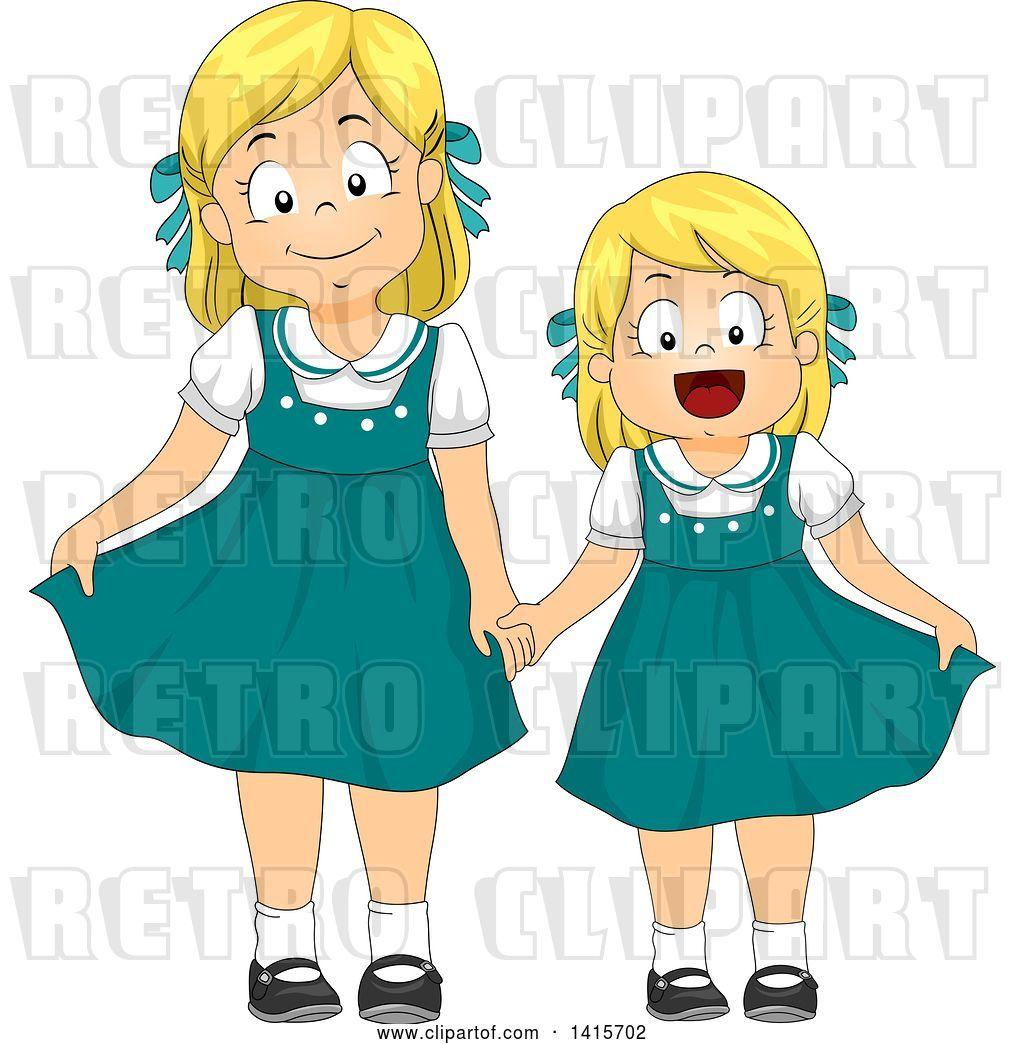 Vector Clip Art of Retro Blond White Girl and Little Sister.