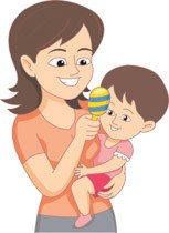 Baby Sitter Holding Child And Toy Clipart » Clipart Portal.
