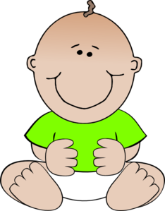Green Baby Sitting clip art.