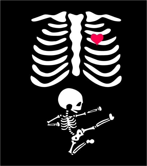 Pregnant Belly clipart Baby Skeleton Shirt Halloween Costume SVG.