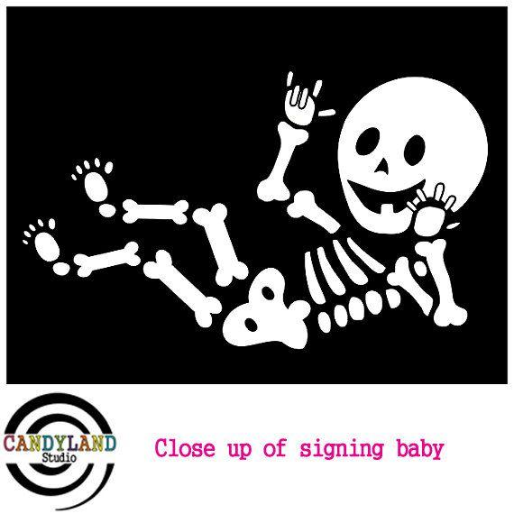Mommy & Baby Skeleton Iron On Decal DIY Pregnant Skeleton Shirt.
