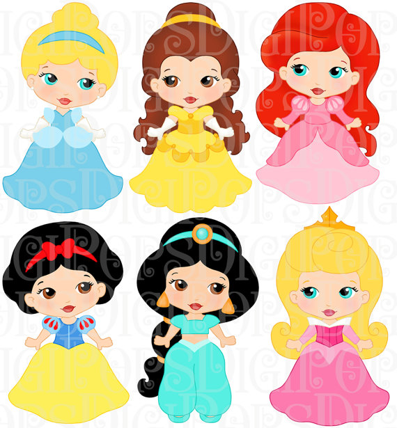 LITTLE PRINCESSES Colored Digital Clip Art Set.