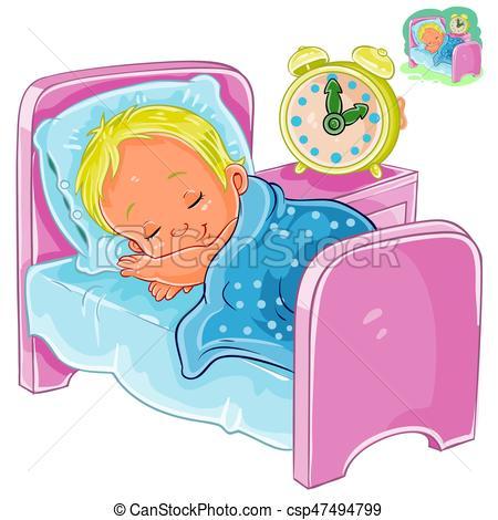 Vector little baby sleeping in his bed.