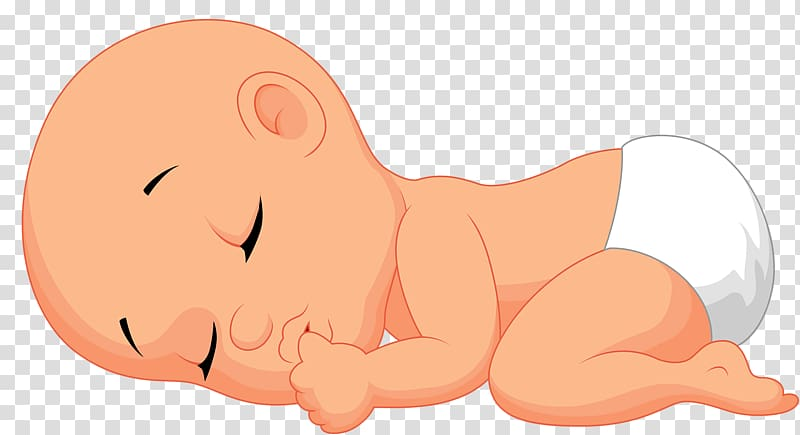 Sleeping baby wearing white diaper sticker, Lullaby Infant Sleep.