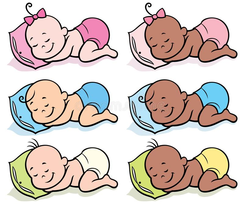 Sleeping Babies Stock Illustrations.