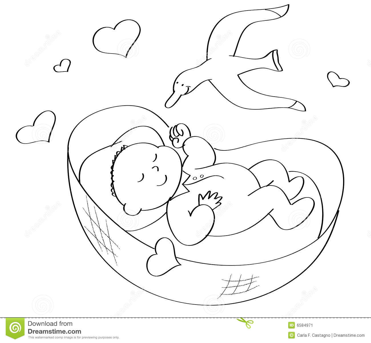 Coloring Baby Sleeping Stock Image.