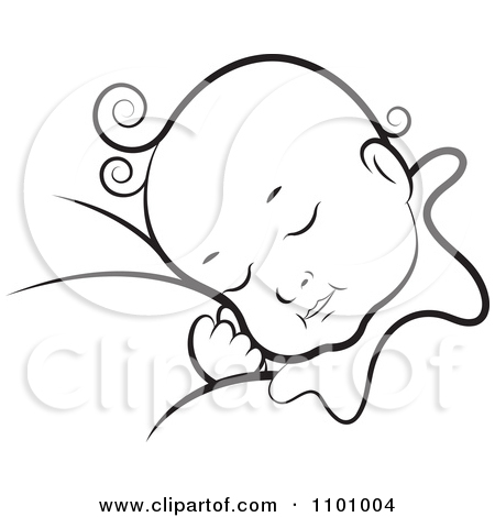 baby sleeping clipart black and white - Clipground
