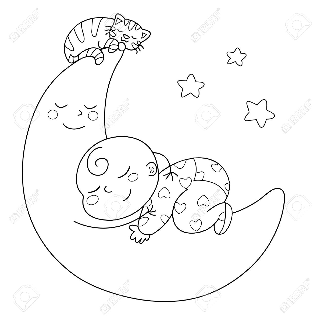 A Cute Baby Sleeping On The Moon. Black And White Illustration.
