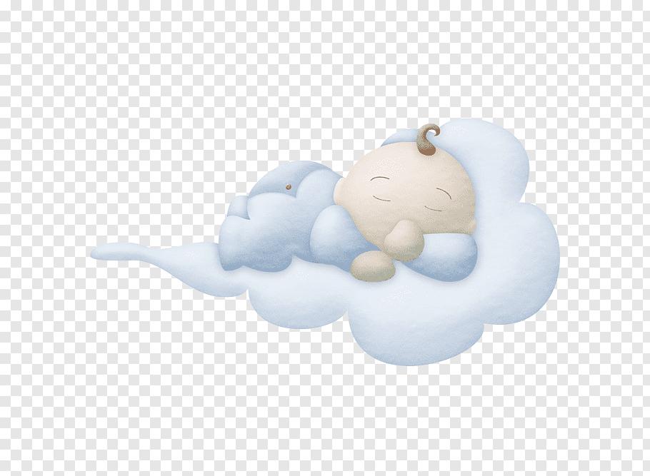 Baby sleeping at cloud illustration, Infant Sleep, Sleeping.