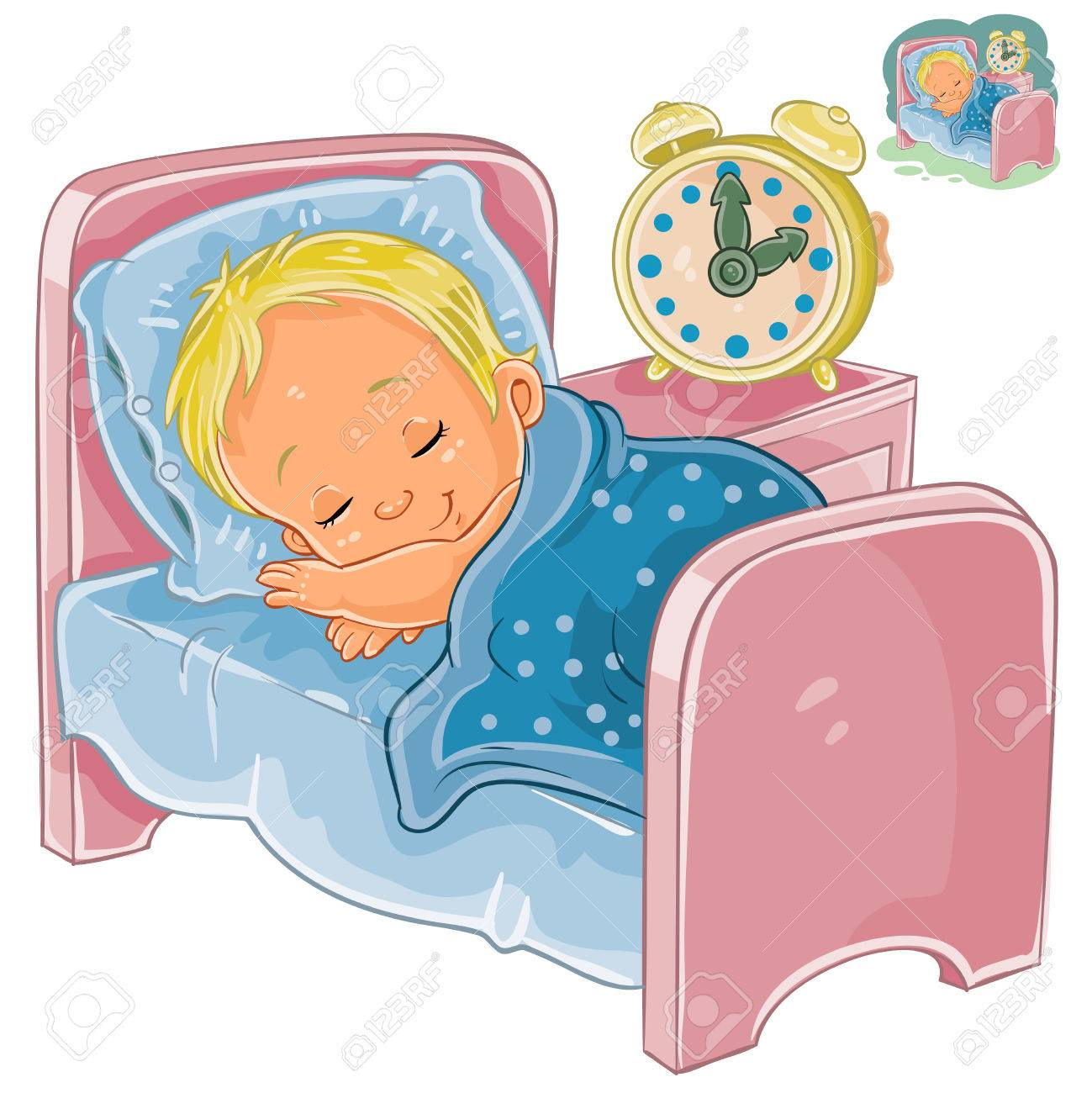 Vector clip art illustration of a little baby sleeping in his...