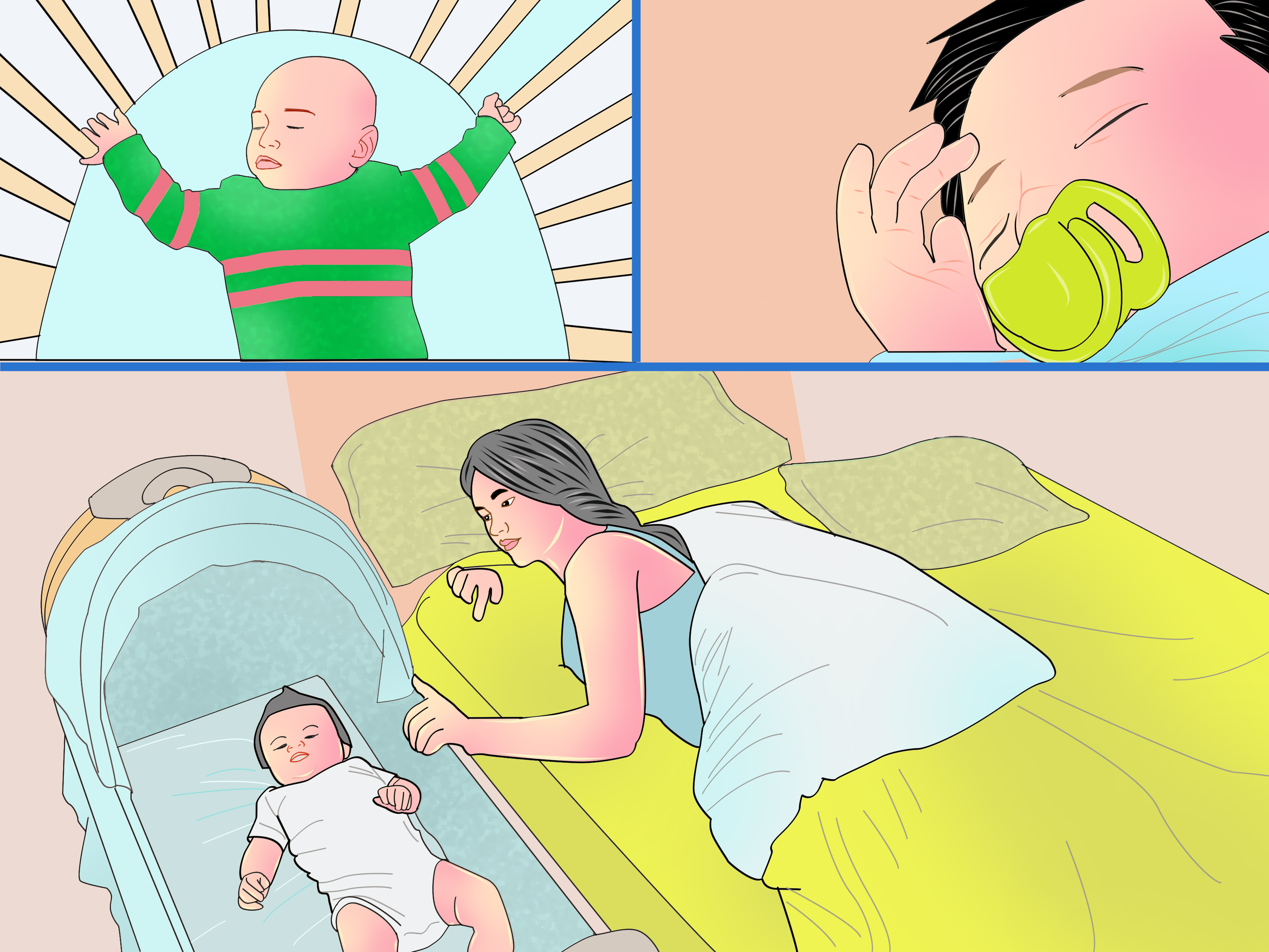 Cartoon Baby Sleeping In Crib.