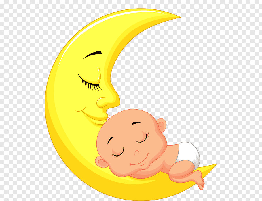 Baby sleeping on crescent moon, Infant Child, Cartoon moon.