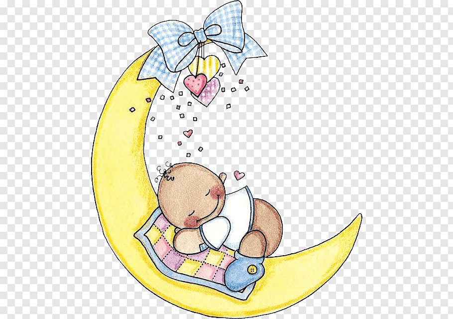 Baby sleeping on yellow crescent moon, Infant Sleep Child.