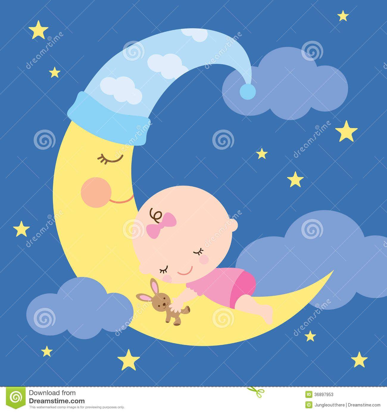 baby sleeping on moon clipart.