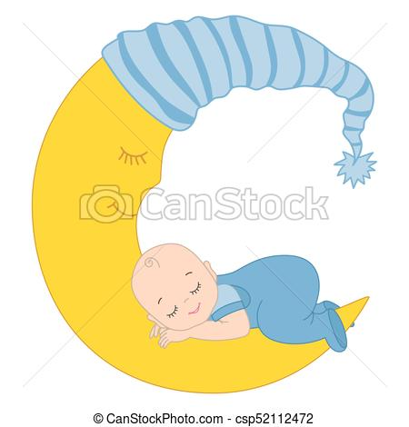 Vector Cute Baby Boy Sleeping on the Moon.