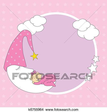 Baby girl sleeping on the moon Clipart.