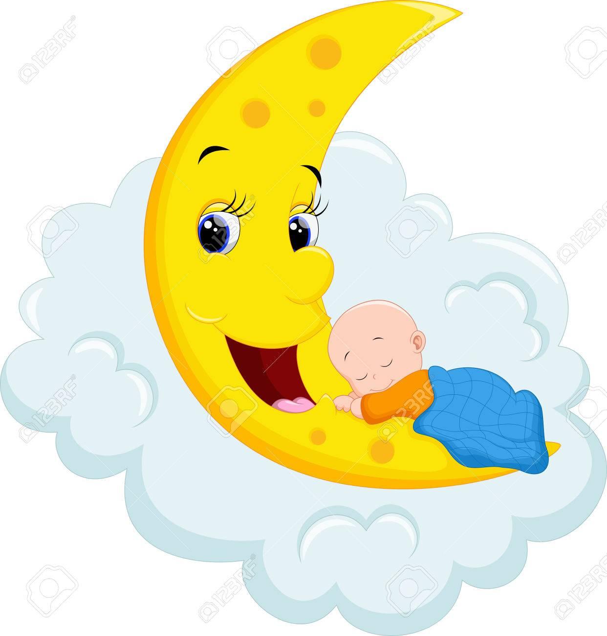 Baby Sleeping on Moon.