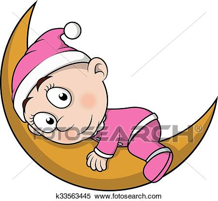Baby sleep on moon Clipart.