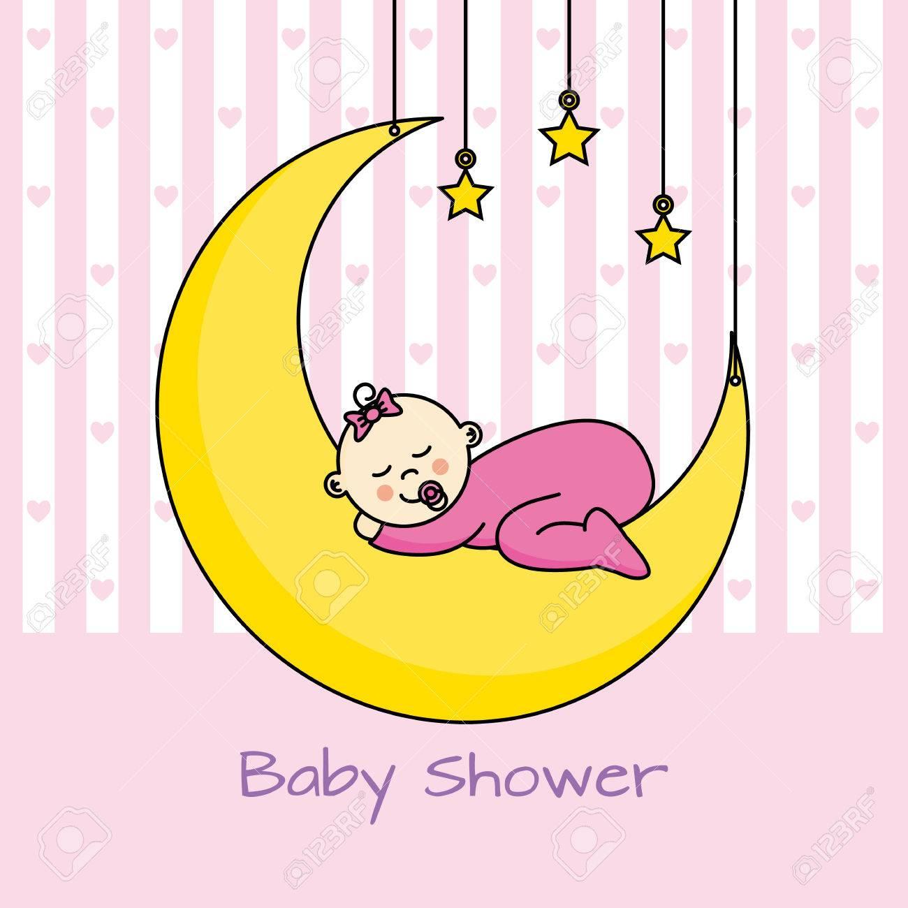 baby sleeping on the moon. baby girl shower card..