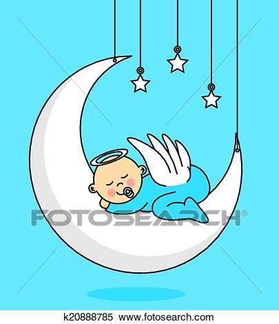 Baby boy sleeping on the moon Clipart.