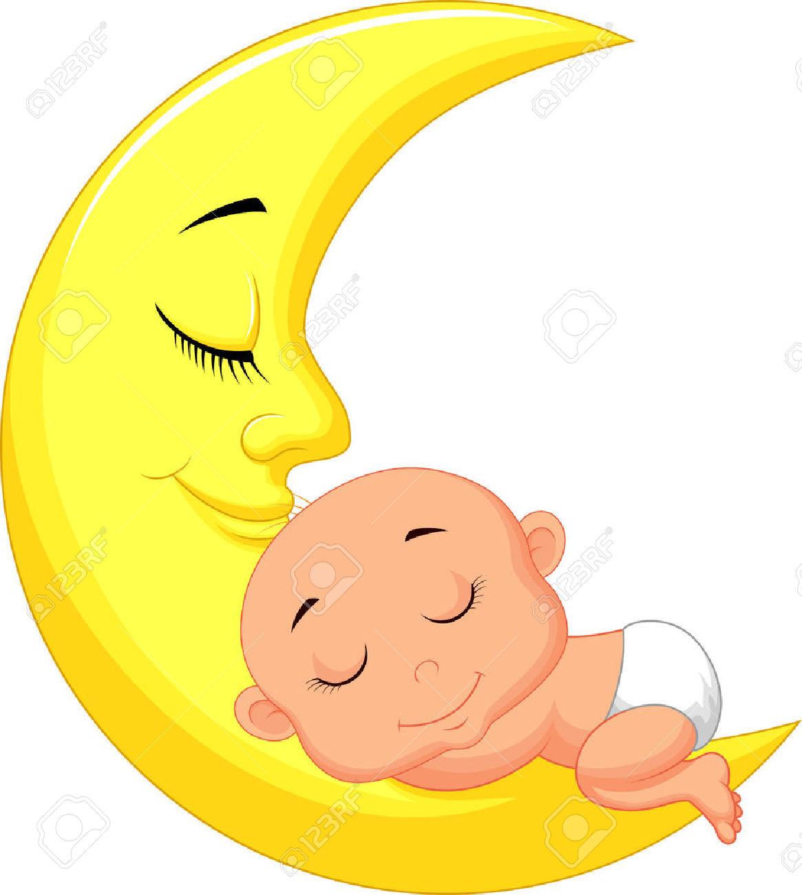 Baby Sleeping On Moon Clipart (45 ).