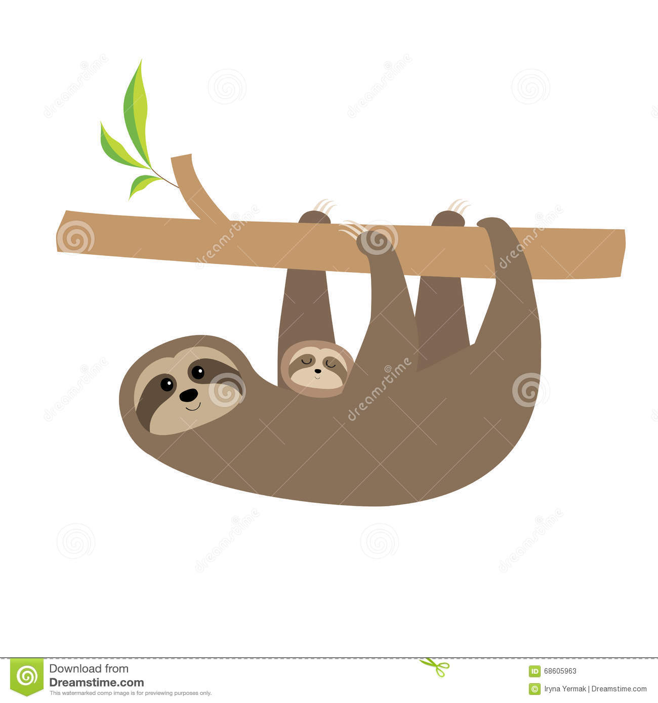 Sloth Mother With Baby. Cute Cartoon Character. Tree Branch Wild.