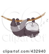 Clipart of a Cartoon Baby Sloth.