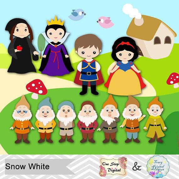 Snow White Digital Clip Art, Snow White Clipart, Snow White Princess.