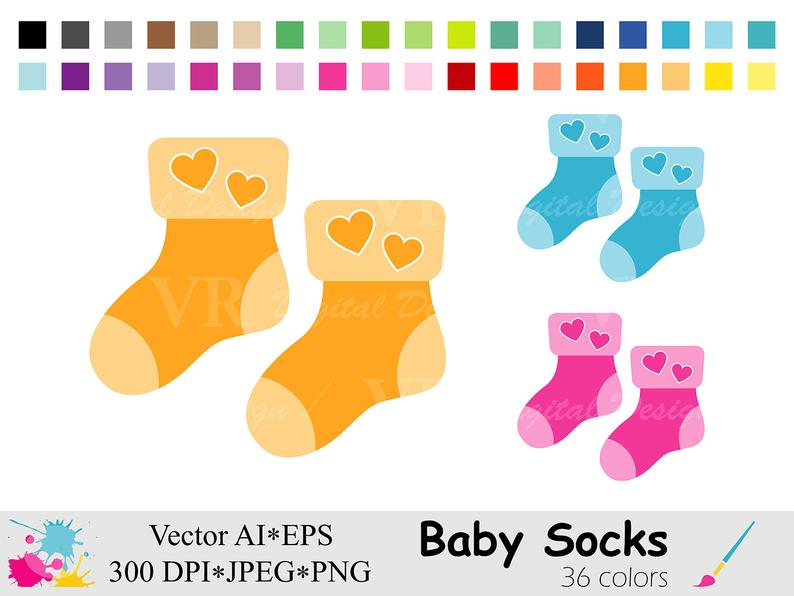 Baby Socks Clip Art, Baby Shower Clipart, Rainbow Socks Clipart, Colorful  Socks Graphics, Planner Stickers Clipart, Digital Download Vector.