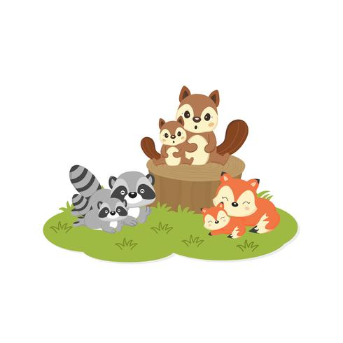 Cute family woodland animals. Foxes,Raccoons,Squirrels.