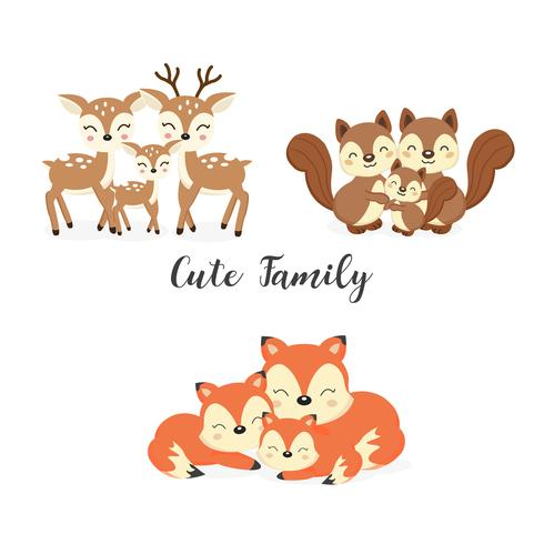 Set of cute family woodland animals. Foxes,Deer,Squirrels.