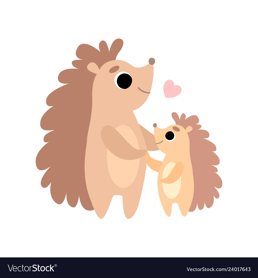 Mother hedgehog and its baby cute forest animal.