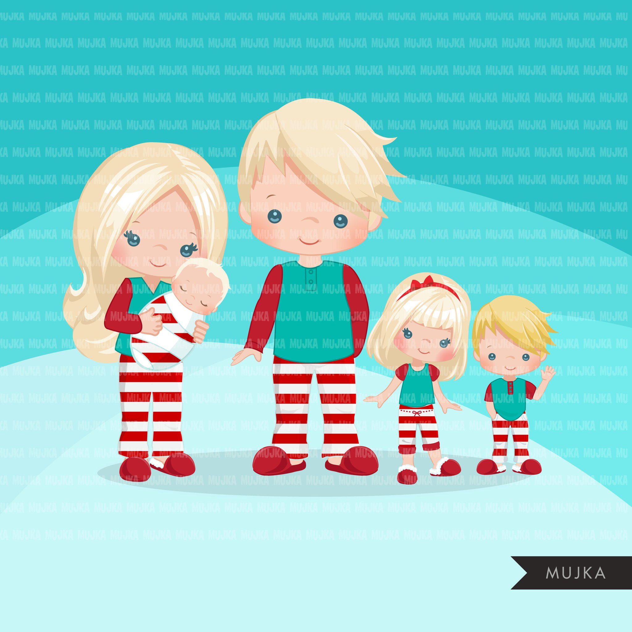 Christmas Pajama family clipart, portraits, mom, dad, grandparents, baby,  kids blonde graphics, striped commercial use PNG.
