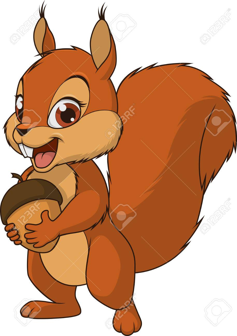 Vector illustration, funny baby squirrel, on a white background.