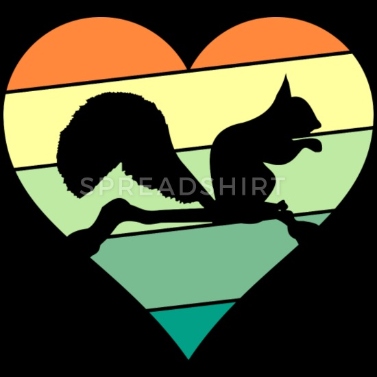 Squirrel Love Heart Retro Vintage Gift Baby Bib.