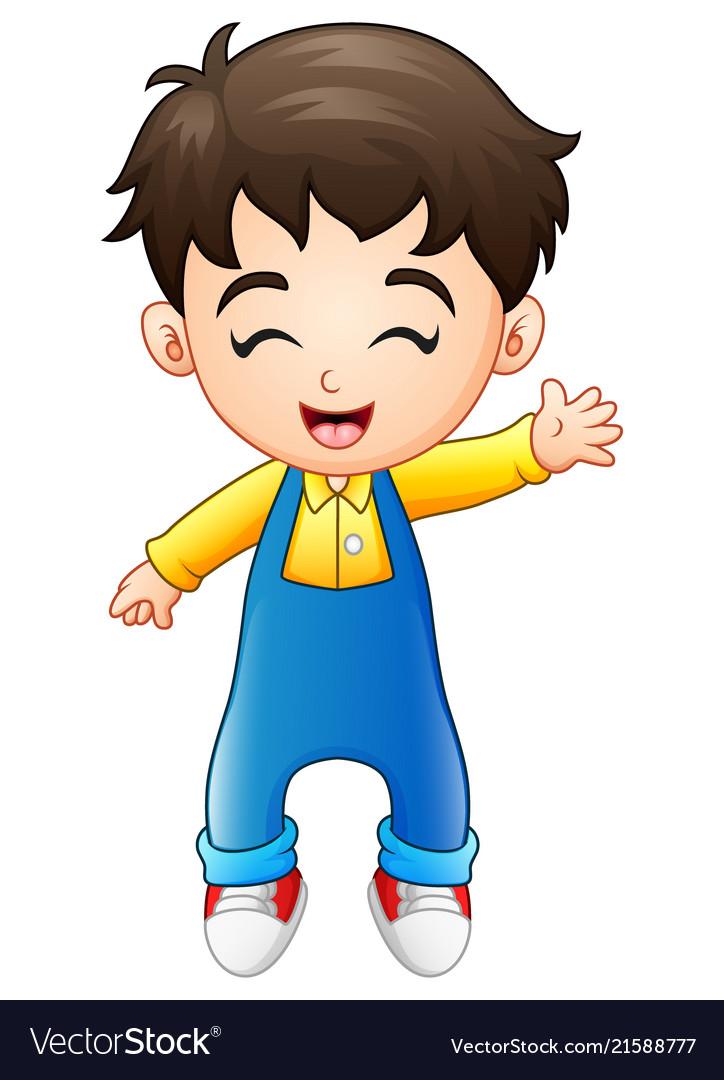 Cute little boy standing in jumpsuit waving.