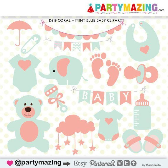 Baby Stuff Clipart, Baby Shower Clipart, Coral and Mint, Teddy Bear.