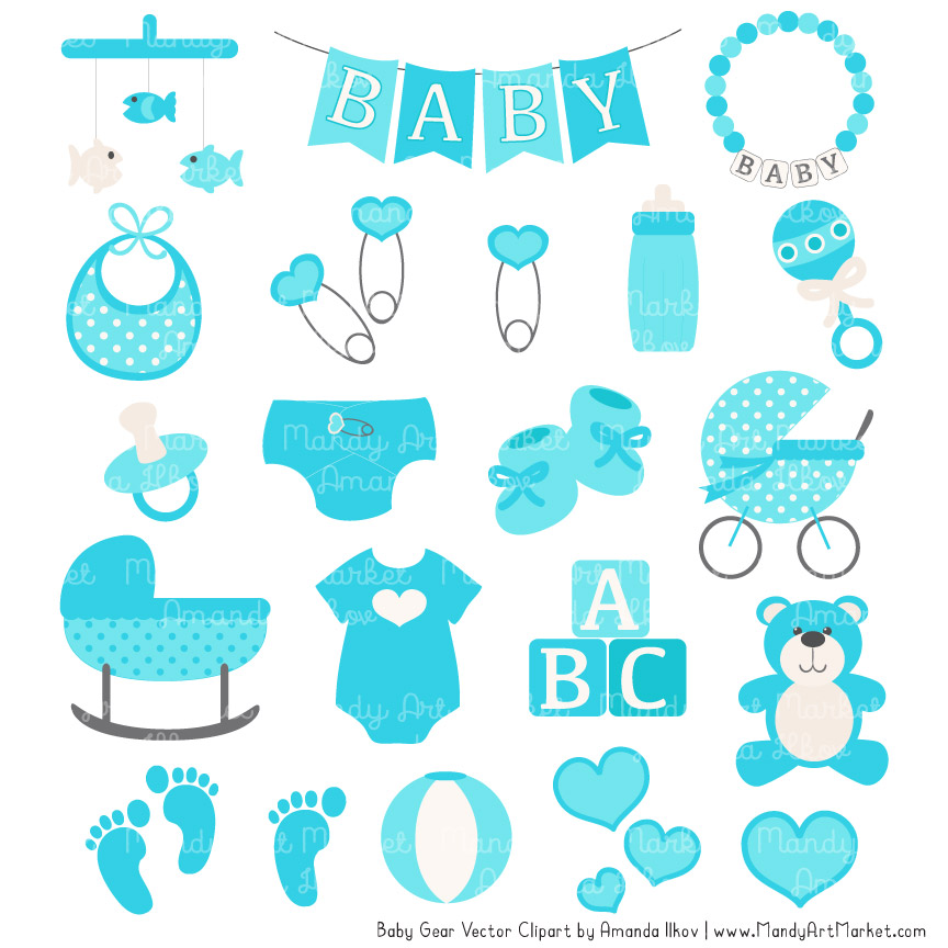 Tropical Blue Baby Clipart.