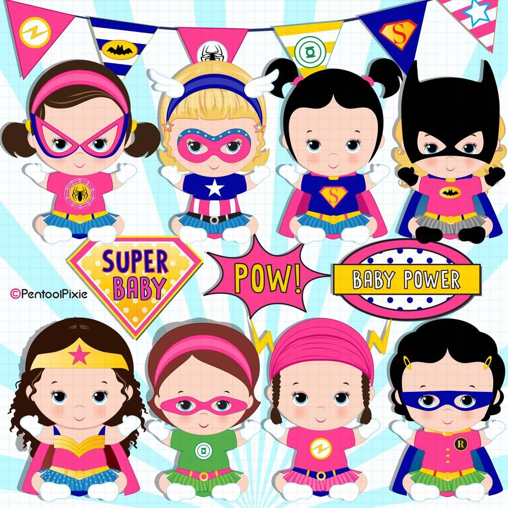 Baby girl superheroes clipart.
