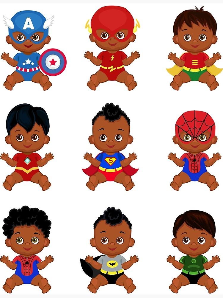 African American Superhero baby, Superhero Multicultural Baby Costumes,  SuperBaby Boys Clipart..