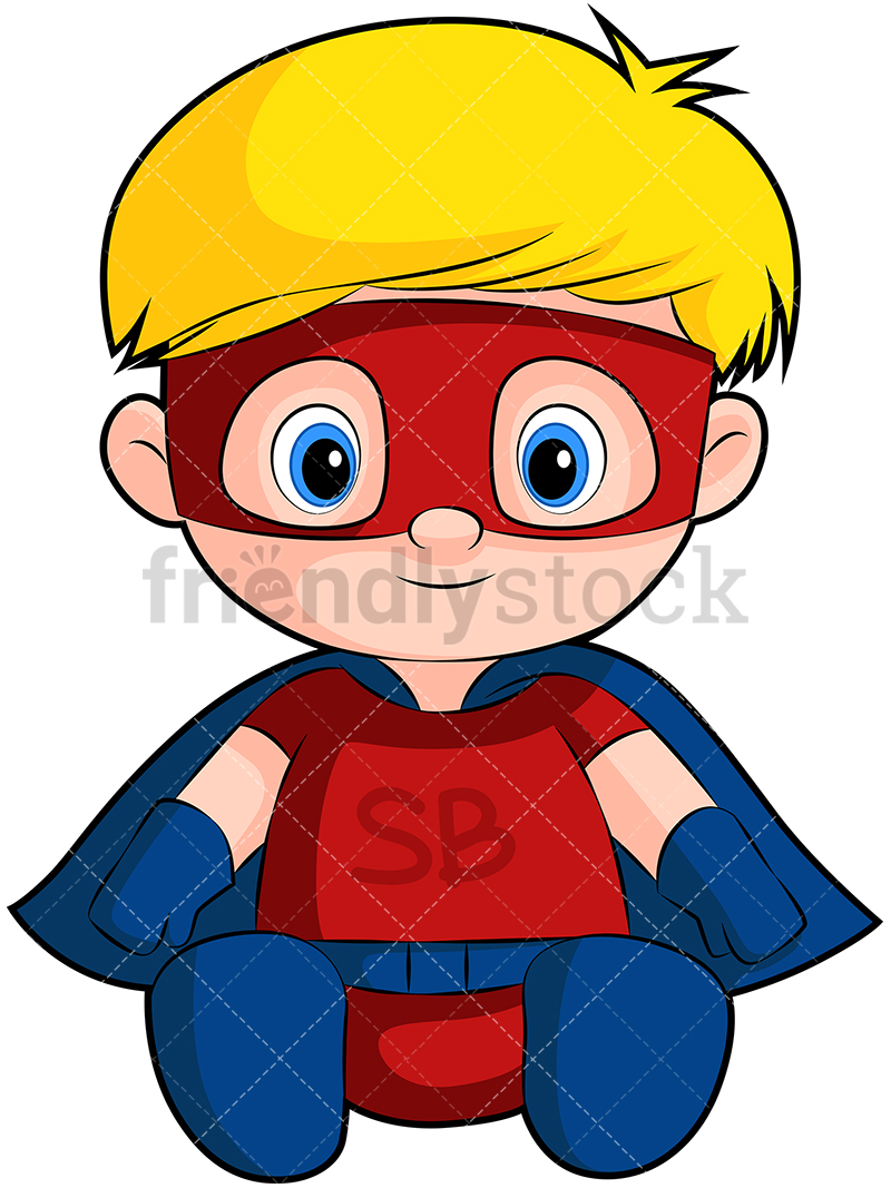 A Cute Baby Boy Superhero With A Mask And A Cape.