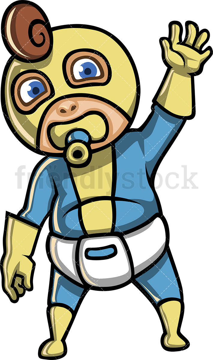 A Cute Baby Boy Superhero With A Diaper Sucking On A Pacifier And Waving.
