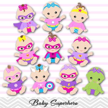 Baby Girl Superhero Digital Clipart, Pink Purple Superhero Girl Clip Art,  0280.