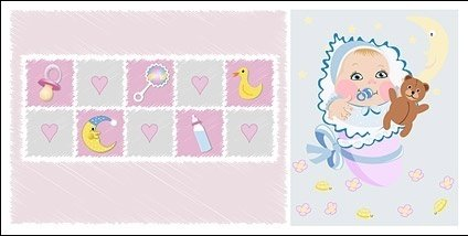 Infant and baby supplies vector material Clipart Graphic.