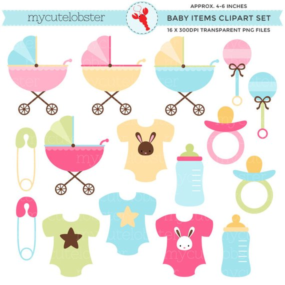 Baby Items Clipart Set.